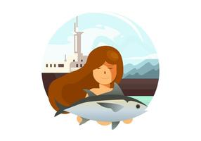 Girl Fishing Vector