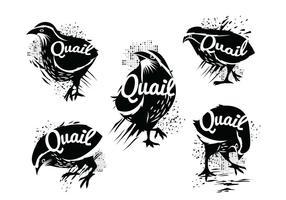 Illustratie van Silhouet van Staande Common Quail Met Grunge Style