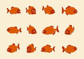 Piranha Handdrawn Vector Pictogrammen