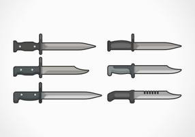 Bayonet Flat Vector Illustration Collection
