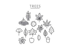 Doodle Of Japanese Tree Elements vector