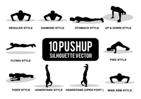 vecteur silhouettes pushup