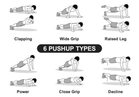 6 Pushup Types vector