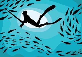 Spearfishing Vector Background