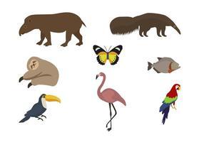 Vlakke wilde dierenvectoren