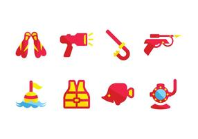 Spearfishing equipment icons