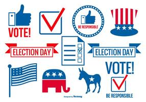 Voting Day Vector Elements Collection