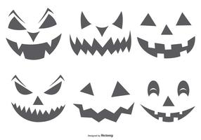 Cute Spooky Halloween Pumpkin Faces vector