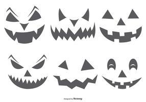 Caras de abóbora assustador e fofo de Halloween vetor