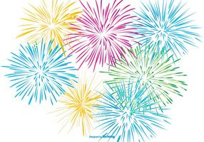 Colored Fireworks on White Background