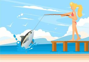 Women Fishing Vector