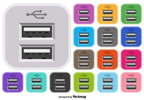 Vector Set Van USB Kleur Pictogram