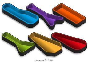 Vector 3D Guitar Case Color Icons Set