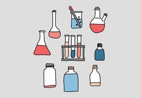 science beaker doodle vectors