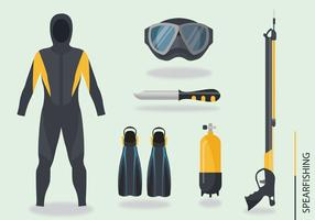 Spearfishing Utrustning Vector Pack