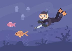 Man Hunting Fish With Speargun vector