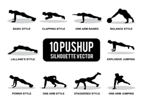 Pushup Silhouettes Vector