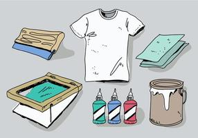 Screen Printing Tools Vector Illustration