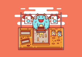 Screen Printing Monster Vector