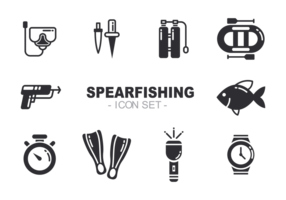 Spearfishing Icons Vector