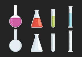 Beaker y colección de vidrio ilustración vectorial
