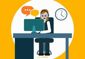 Färgglada Flat Style Call Center Illustration
