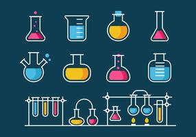 Vettore di stile della linea dell'icona della boccetta del becher di chimica e di scienza