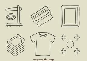 sketch screen printing element vector
