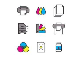 Set Of Outlined Screen Printing Icons