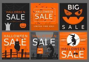 Halloween Sale 2017 Poster Vector Set
