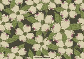 Vector Seamless Pattern Of Dogwood Blossom Motif