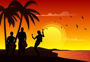 Beach Dancing Free Vector