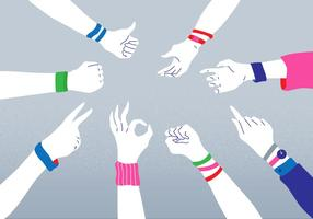 Colorful Wristband Hand Pose Vector Illustration