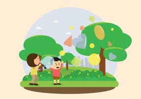 Kids Bubble Blowing Illustration