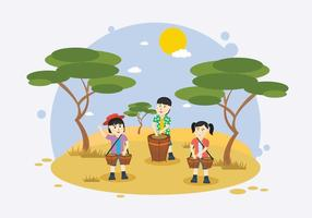 Kids Playing Bongo Background Illustration