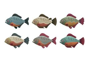 Collection d'illustration vectorielle de poisson Piranha