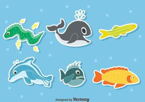 Cartoon Sea Creature Collection Vector