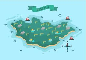 Mongolian Map With Location Vector Illustration