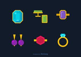 Colorful Luxury Jewelry Flat Vector Icons