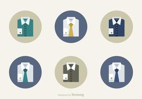 Collection Of Mens Folded Shirts Icons With Ties And Cufflink
