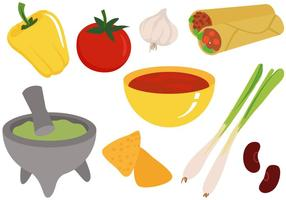 Comida mexicana gratis Ingredientes Vectores