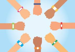 Wristbands On Human Hands Background vector