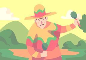 Homem que dança no vetor do poncho