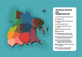Bronx karta med distrikt information vektor illustration
