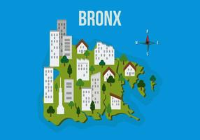 Bronx Map With Building Vector Illustration