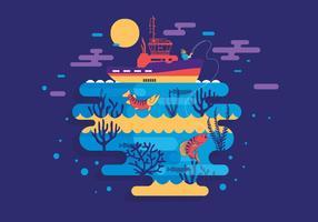 Scena di pesca muskie vettoriale