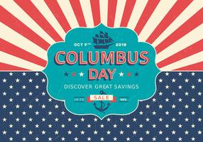 Columbus Day Sale Retro Vector Poster