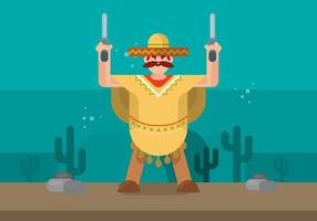Man in Poncho Illustration