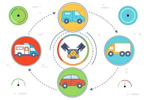 Flat Design Vector Car Icons