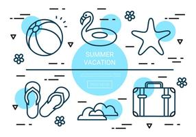 Free Linear Summer Vacation Vector Elements
